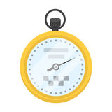 Yellow stopwatch with taxi emblem. Equipment measure the time of filing a taxi. Taxi station single icon in cartoon Stock Images