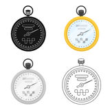 Yellow stopwatch with taxi emblem. Equipment measure the time of filing a taxi. Taxi station single icon in cartoon Stock Photo