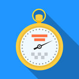 Yellow stopwatch with taxi emblem. Equipment measure the time of filing a taxi. Taxi station single icon in flat style Royalty Free Stock Photo
