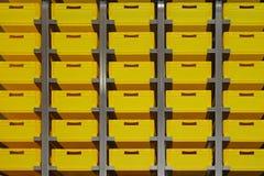 Yellow storage crates Stock Photo