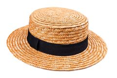 Yellow straw hat on white Royalty Free Stock Photo