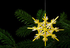 Yellow straw star Christmas decoration over fir branch Stock Photos
