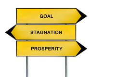 Yellow street concept goal, prosperity and stagnation sign. Isolated on white background close stock images