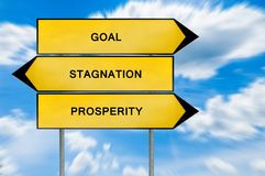 Yellow street concept goal, prosperity and stagnation sign. Isolated on sky background close royalty free stock image