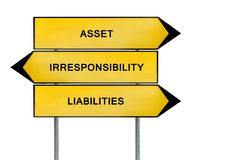 Yellow street concept liability, asset, irresponsibility sign. Isolated on white background royalty free stock photos