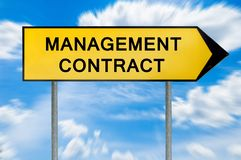 Yellow street concept management contract sign. Isolated on sky background royalty free stock image