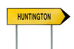 Yellow street concept sign Huntington isolated on white Royalty Free Stock Image