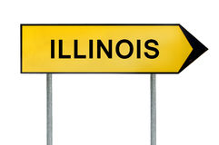 Yellow street concept sign Illinois isolated on white. Close royalty free stock photo