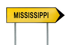 Yellow street concept sign Mississippi isolated on white. Close stock image