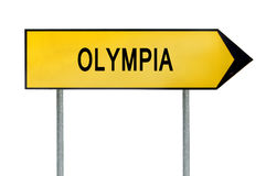 Yellow street concept sign Olympia isolated on white Stock Images