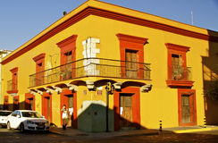 Yellow Street Corner Oaxaca, Mexico Royalty Free Stock Photo