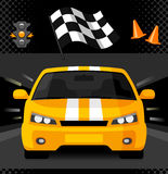 Yellow street racing car with sport checkered flag. Traffic light and road cones. Vector illustration Stock Image