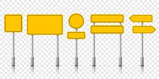 Free Yellow Street Road Sign Boards. Vector Roadsign Alert Notice Royalty Free Stock Photos - 126374708