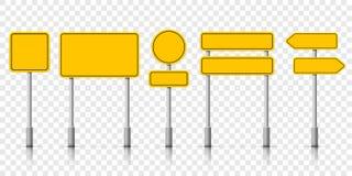 Yellow street road sign boards. Vector roadsign alert notice. On transparent background vector illustration