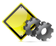 Yellow street sign with gears illustration Royalty Free Stock Image