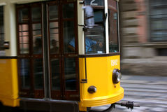 Yellow streetcar Royalty Free Stock Image