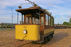 Yellow streetcar  tram old Royalty Free Stock Image