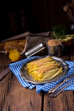 Yellow string bean with bread crumbs Stock Photography