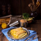 Yellow string bean with bread crumbs Royalty Free Stock Image