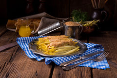 Yellow string bean with bread crumbs Stock Photos