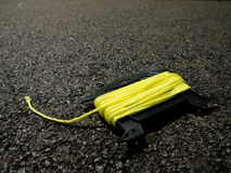 The Yellow String on the Ground at the Construction site Royalty Free Stock Photography