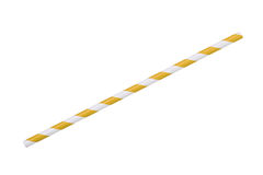 Yellow striped eco paper straw isolated on white Stock Image