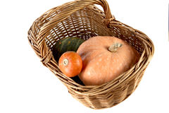 Yellow and  striped pumpkin in  wattled basket Royalty Free Stock Photo