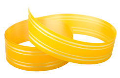 Yellow striped ribbon. Isolated on white background Royalty Free Stock Photography