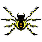 Yellow striped spider. vector illustration. Drawing by hand. Royalty Free Stock Photo
