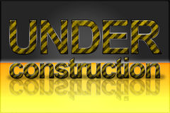 Yellow Striped Text Effect - Under Construction. Yellow warning striped text effect with the word Under Construction Stock Photography