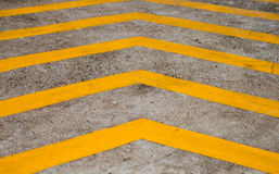 Yellow stripes on background concrete floor Royalty Free Stock Image