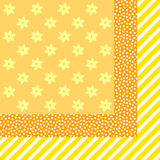 Yellow stripes, dots and blossoms Royalty Free Stock Photography