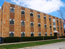A yellow student dorm building. A student dorm building in the University of Illinois at Urbana Champaign (UIUC Royalty Free Stock Photography