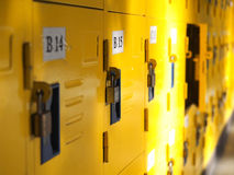 Yellow student lockers active usage Royalty Free Stock Photography