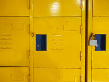 Yellow student lockers active usage Royalty Free Stock Photo
