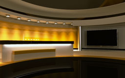Yellow Studio. Backdrownd. 3d render Stock Photography