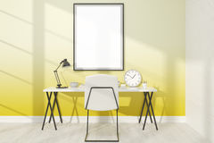 Yellow study with poster Stock Photos