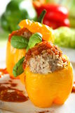 Yellow stuffed pepper. With rice and tomato dressing Royalty Free Stock Image