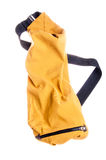 Yellow stylish backpack. Stylish yellow backpack with black strap Stock Photography