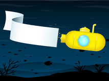 Yellow submarine with banner Royalty Free Stock Images