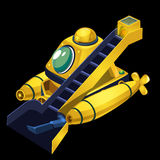 Yellow submarine cleaner of garbage Royalty Free Stock Images
