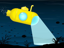 Yellow submarine exploring. Dark sea background vector illustration