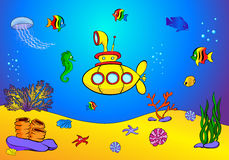 Yellow submarine and fish under water. Seahorse, jellyfish, cora Stock Images