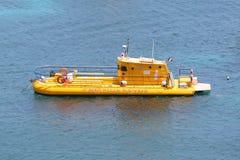 Yellow submarine in Gustavia harbor at St. Barths Stock Photos