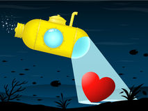 Yellow submarine - heart. Yellow submarine finding heart - sea background stock illustration