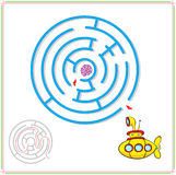 Yellow submarine must pass through a maze and find rare shell on. The ocean floor. Educational game for children. Vector illustration Stock Photography