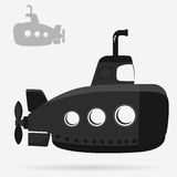 Yellow Submarine with periscope. Bathyscaphe cartoon, underwater ship Flat design. Vector stock illustration
