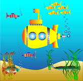 Yellow submarine under water Stock Image