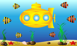 Yellow submarine under water Royalty Free Stock Image