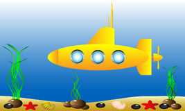 Yellow submarine under water Royalty Free Stock Images